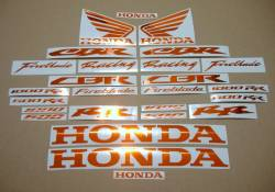 Honda CBR 600/1000 RR chrome orange logo decals set
