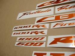 Honda CBR 600/1000 RR mirror orange logo decals kit