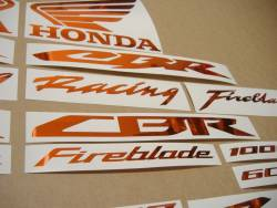 Honda CBR Fireblade chrome orange logo decals emblems