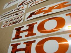 Honda CBR 600/1000 RR chrome orange logo adhesives set