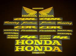 Honda CBR Fireblade light reflective yellow logo decals