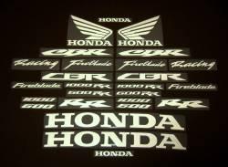Honda CBR white reflective signal logo decal kit