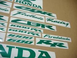 Honda CBR Fireblade glow in the dark green decals set
