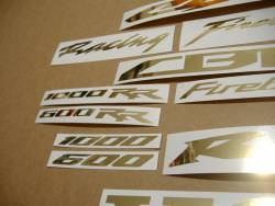 Honda CBR 6001000 RR chrome (mirrored) gold logo emblems set