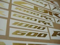 Honda CBR 6001000 RR brushed (scratched) gold logo emblems set