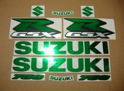 Decals for Suzuki GSXR 750 (Gixxer logo) in chrome mirror green