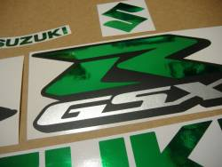Aftermarket logo emblems for Suzuki Gixxer 1000 in chrome green