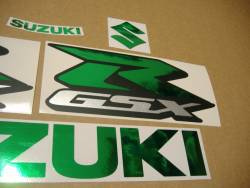 Decals for Suzuki GSXR 1000 (Gixxer logo) in chrome mirror green