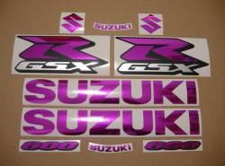 Chrome pink stickers kit for Suzuki GSX-R (Gixxer) 600 SRAD