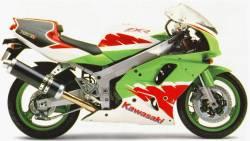Kawasaki ZXR 750 Ninja 1993 white/red reproduction adhesives kit