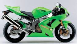 Kawasaki ZX-6RR 600 ninja 2003 green replacement stickers