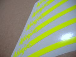 Kawasaki ZXR ninja high visibility yellow wheel stripes stickers