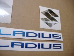 Suzuki Gladius SFV 650 white/blue replacement adhesives