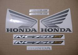 Honda NC750S 2017 black model logo decals set