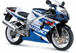 Suzuki gsxr 750 2002 K1 K3 white blue graphics kit