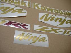 Logo emblems for Kawasaki ZX10RR race replica in gold