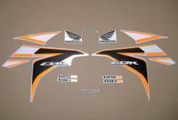 Honda CBR 125R 2011 orange/silver replica decals set