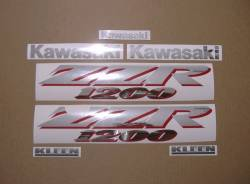 Kawasaki ZZR 1200 silver 2002 replacement sticker set