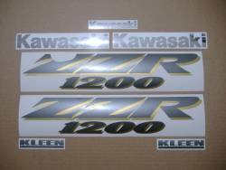 Kawasaki ZZR1200 2004 complete restoration decal set