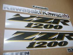 Kawasaki ZZR 1200 black model complete decals set