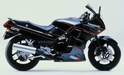 Kawasaki GPX 750R 1986 black model version graphics