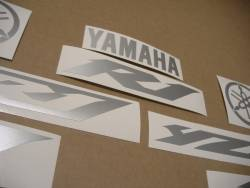 Matte silver grey logo decals for Yamaha R1