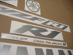 Satin silver grey logo stickers for Yamaha R1