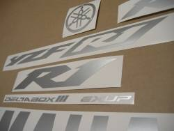Matte silver grey logo stickers for Yamaha R1