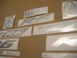 Matte silver grey logo decals for Yamaha R6