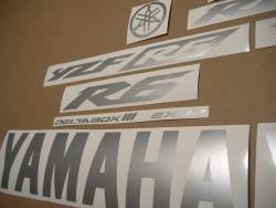 Matte silver grey logo stickers for Yamaha R6