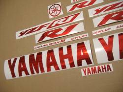 Yamaha YZF R1 graphics in custom chrome red color
