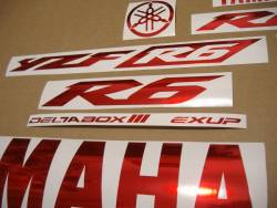 Chrome red color stickers for Yamaha YZF R6
