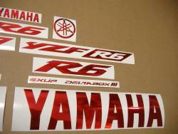 Yamaha R6 graphics in custom chrome red color