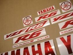 Yamaha YZF R6 stickers in chrome red color