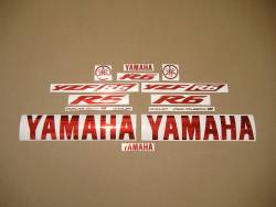 Chrome red logo decals for Yamaha YZF-R6
