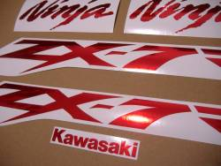 Decals for Kawasaki ZX-7R in chrome (mirror) red