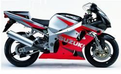 Suzuki 750 2001 red complete sticker kit