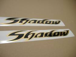 Honda shadow black chrome gold gas tank full decals labels set