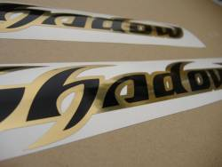 Honda shadow black chrome gold gas tank decals graphics
