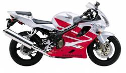 Honda cbr 600 F4i 2004 red labels graphics