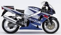 Suzuki gsx-r 750 2001 white blue logo emblems set