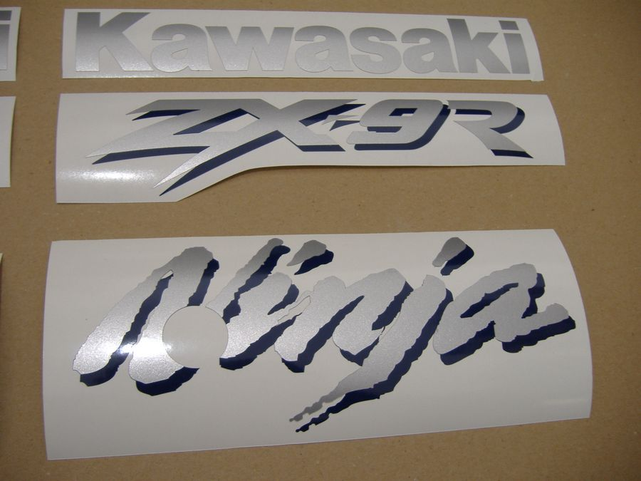 Kawasaki ZX-9R Ninja 1998 decals set (full kit) - blue version - Moto-Sticker.com