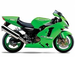 Kawasaki ZX 12R 2004 green stickers kit