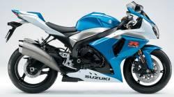 Suzuki GSXR 1000 2009 white blue decals