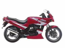 Kawasaki GPZ 500S 1999 red labels graphics