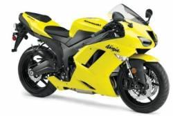 Kawasaki ZX6R 2008 yellow adhesives set