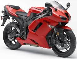 Kawasaki ZX6R 2007 red adhesives set