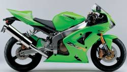 Kawasaki ZX6R 2003 Ninja green decals kit