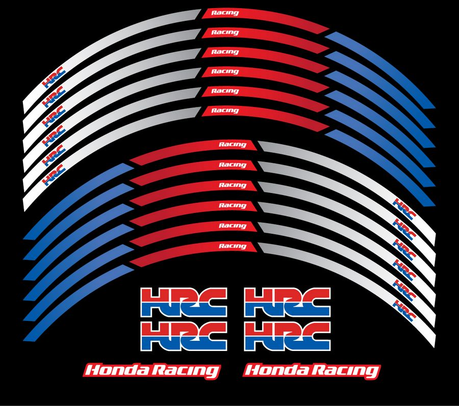 Honda Cbr Wheel Rim Stripes Decals Set Lines In Blue White