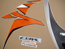 Honda 1000RR 2010 Fireblade orange stickers set